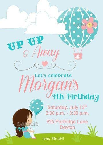 Hot air balloon girl printable up up away birthday party invitation hot air balloon girl printable up up away birthday party invitation filmwisefo