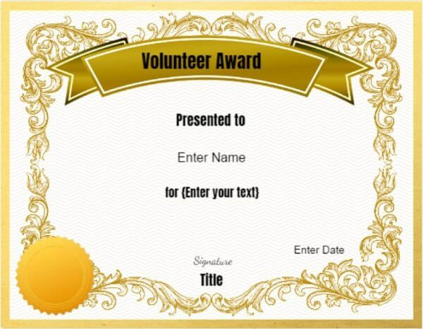 Award for Volunteers k Pinterest Certificate, Appreciation and - fresh fillable certificate of appreciation