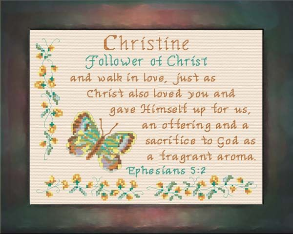 Christine - Name Blessings Personalized Cross Stitch Design