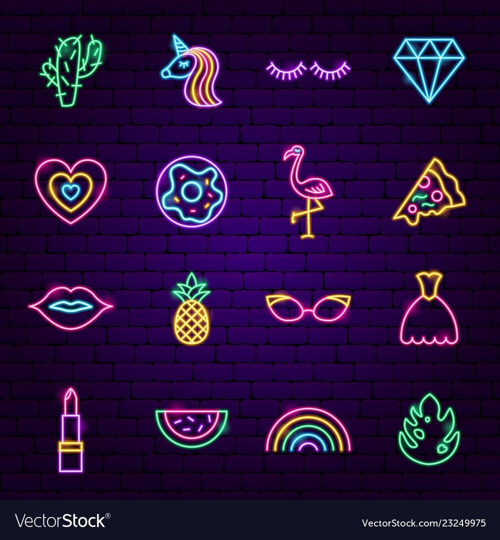Girl Power Neon Icons Vector Image On Vectorstock Neon Instagram Icons Iphone Wallpaper Tumblr Aesthetic