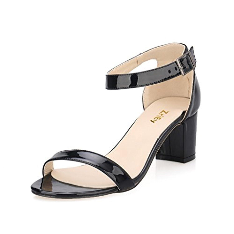 Womens Zri Ey Women's Fashion Buckle Mid Chunky Heel Sandals Sale Online Size 39