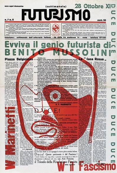 "newspaper ""Futurisimo"" with a Mussolini portrait edited by Marinetti and Somenzi designed by Prampolini - 1933"