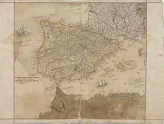 Mapa De La Peninsula Iberica En El First Atlas Of Europa With Images Cartography Map Vintage World Maps