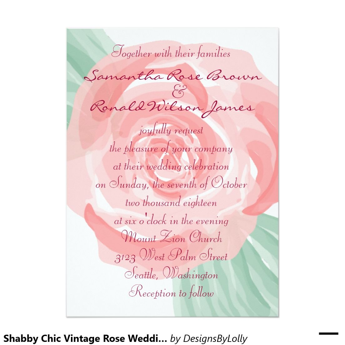 Shabby Chic Vintage Rose Wedding Invitations. Aren\'t these just the ...