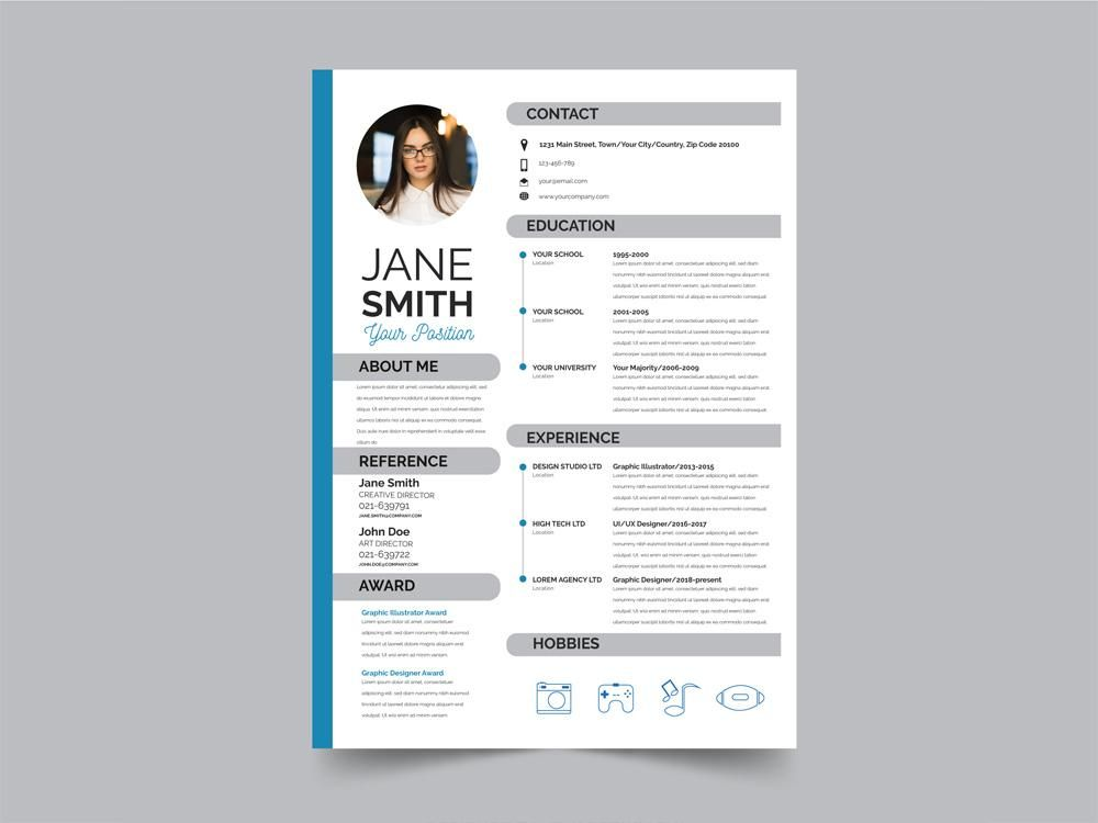 Free Modern Resume Cv Template With Flat Style Design In