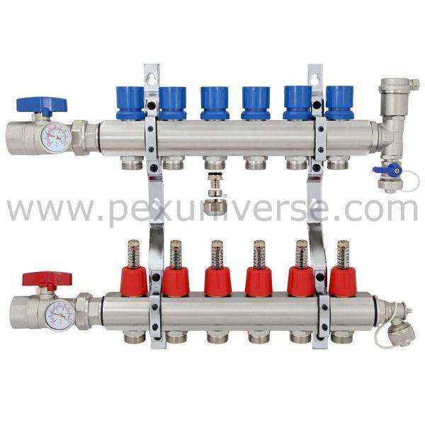 6 Zone Brass Complete Radiant Heat Manifold Kit Radiant Heat Pex Tubing Radiant Heating System