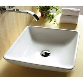 Nameeks Ceramica White Square Vessel Sink   Lowes $227.50  #whitesquarevesselsink