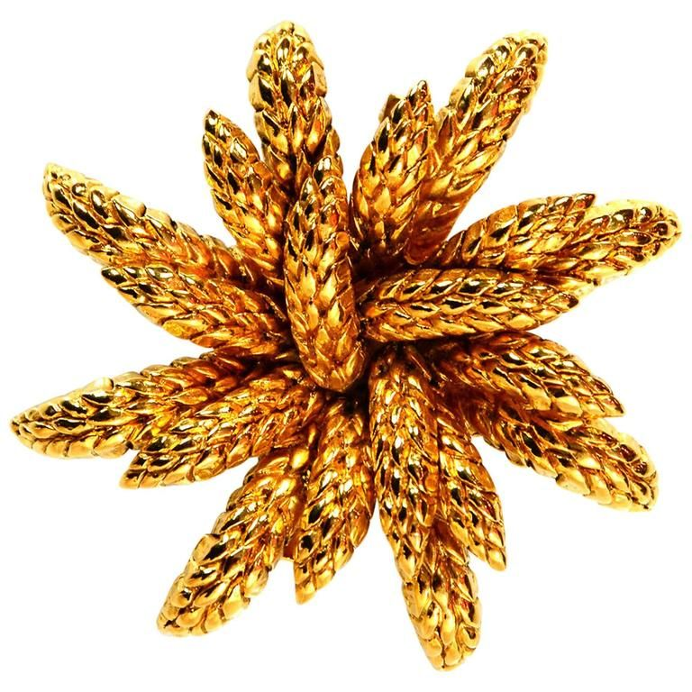Chanel Vintage '90s Goldtone Wheat Flower Brooch Pin