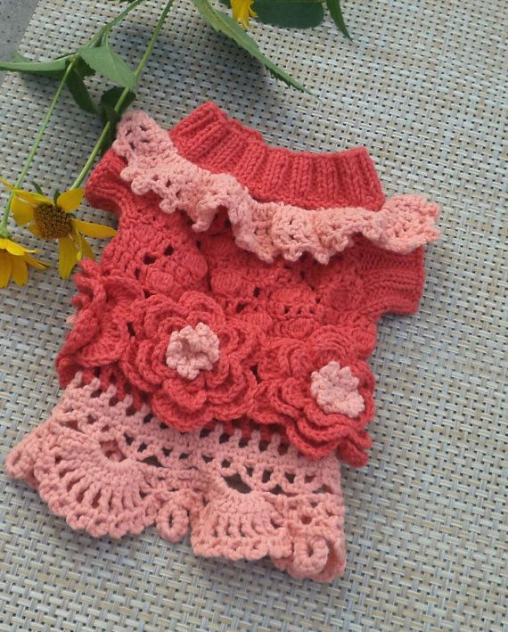 Puppy clothes dog dress large pet costume dog crochet dog clothes ...