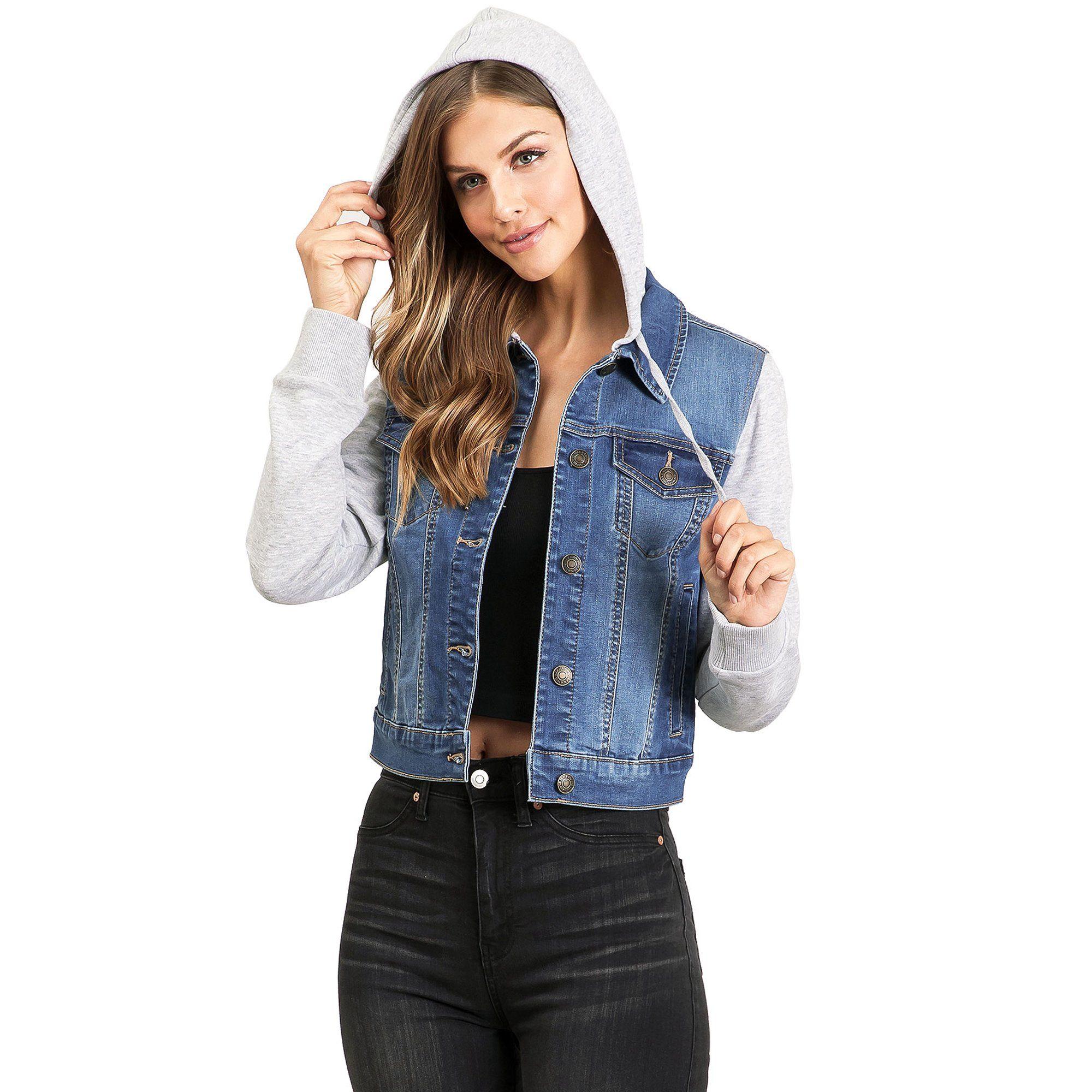 Wax Jean Wax Jean Womens Causal Sweatshirt Hooded Denim Jacket S Medium Denim Walmart Com Jacket Outfit Women Light Denim Jacket Denim Jacket Women [ 2000 x 2000 Pixel ]