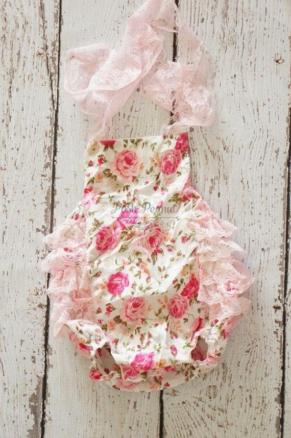 Baby Romper - Shabby Flower Romper - Girls Sunsuit - Baby Bubble ...