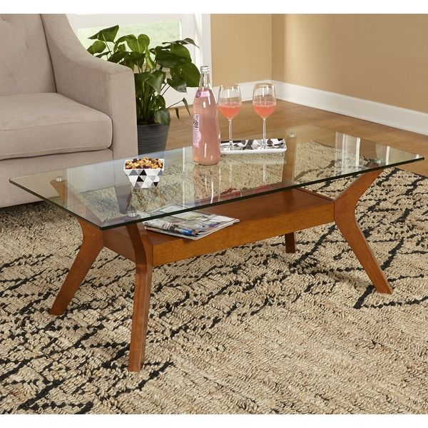 Simple Living Fontana Walnut Finished Coffee Table With Gl Top Brown