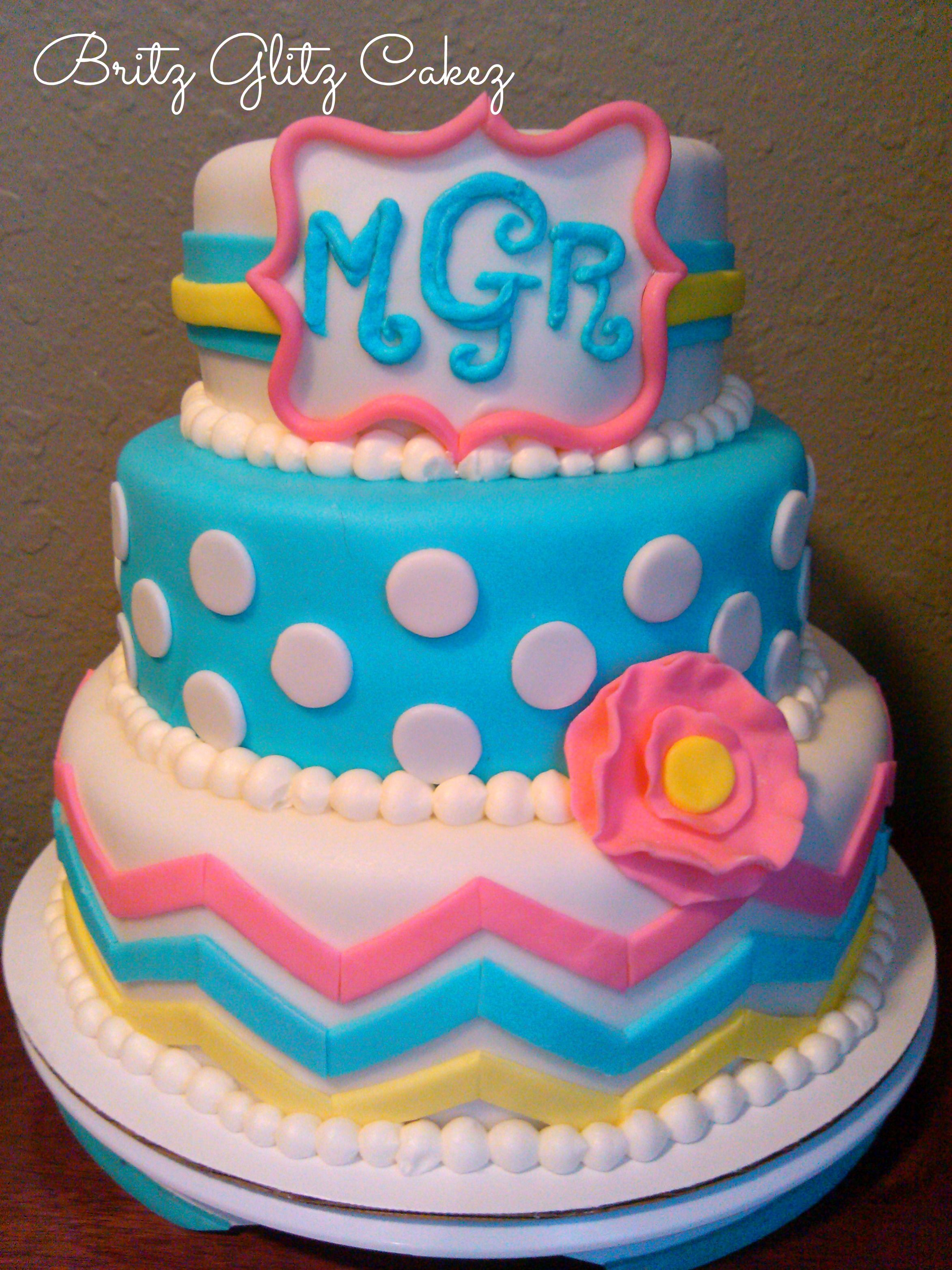 Monogram chevron cake My Cake Creations Pinterest Chevron