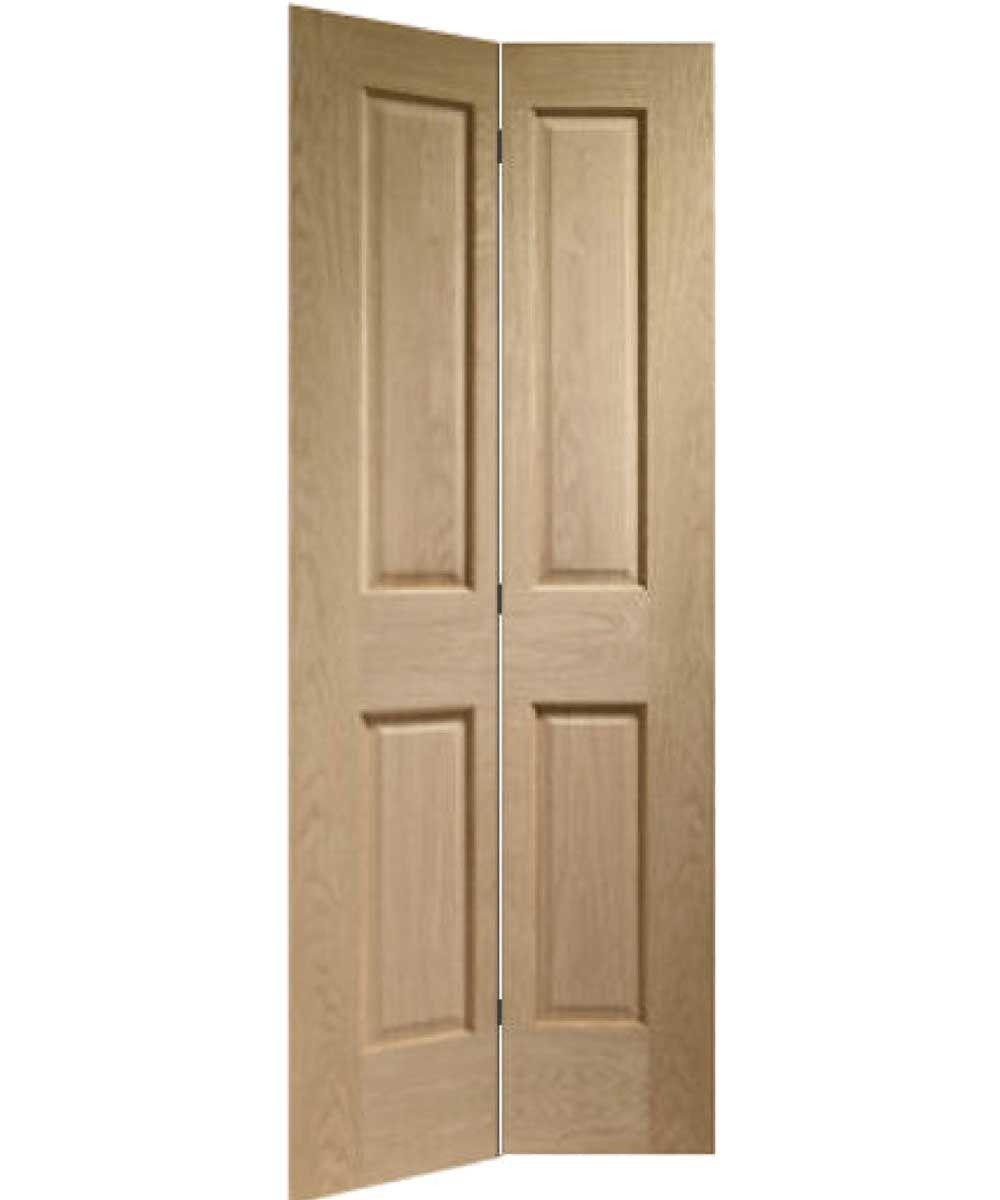 Made To Measure Bi Fold Oak 4 Panel Door Including Track Kit Porte