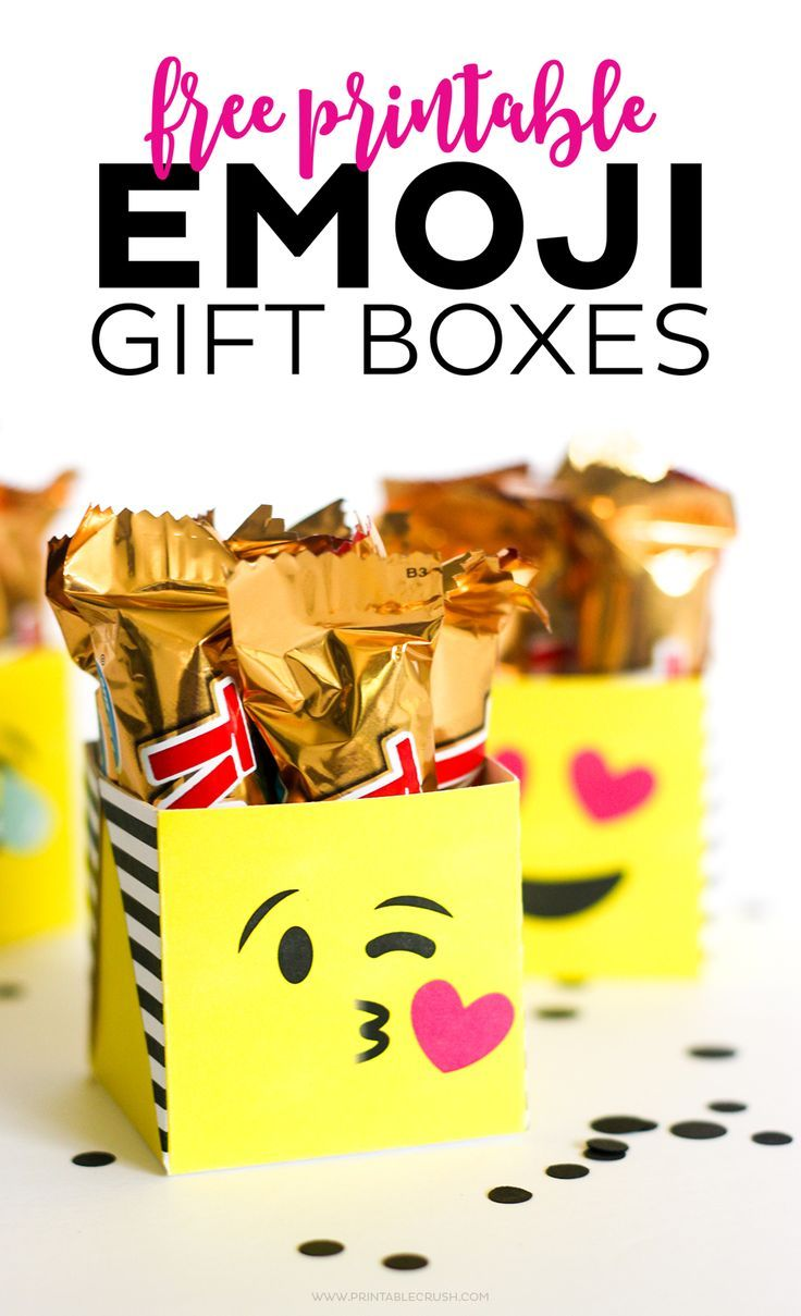 Free Printable Emoji Gift Boxes Emoji Gifts Emoji Party Emoji Birthday Party