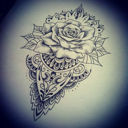 lovely mandala rose tattoo art pinterest rose tattoos tattoo and rose. Black Bedroom Furniture Sets. Home Design Ideas