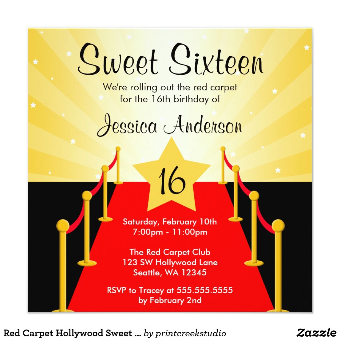 Red Carpet Hollywood Sweet 16 Birthday Party Card   Sixteenth ...