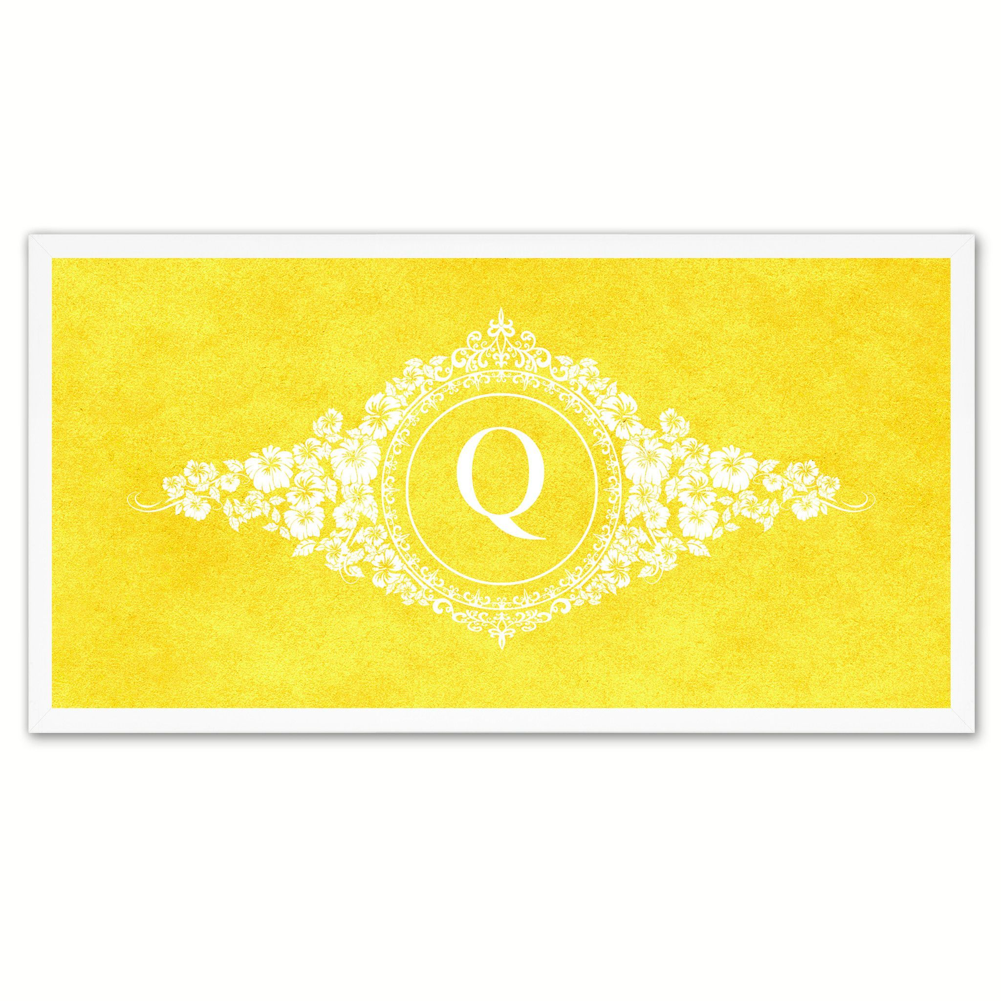 Alphabet Letter Q Yellow Canvas Print White Frame Kids Bedroom Wall ...