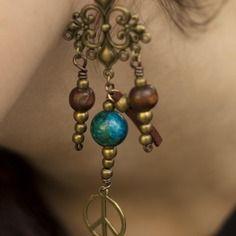 """Boucles d'oreille bohème """"nina"""" -perles bois et bronze"""