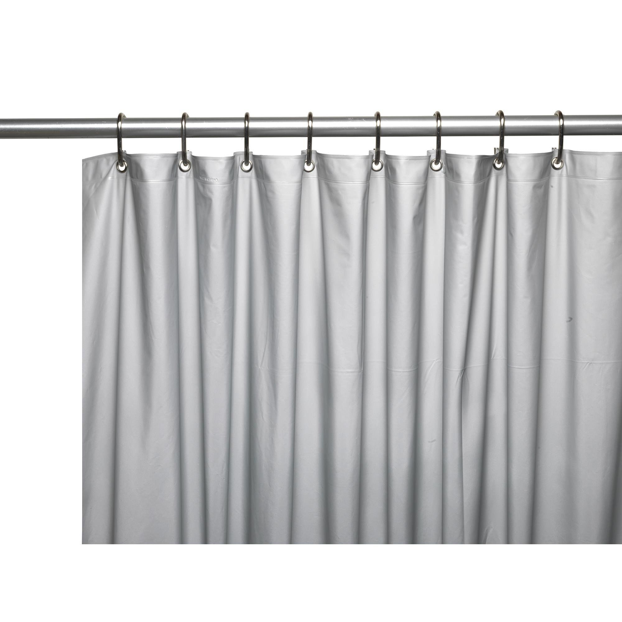 Carnation Home Hotel Collection, 8 Gauge Vinyl Shower Curtain Liner W/  Weighted Magnets And Metal Grommets In Silver
