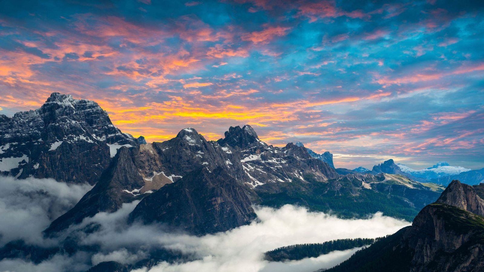 Italian National Park Mountains Clouds Sunset 1600x900