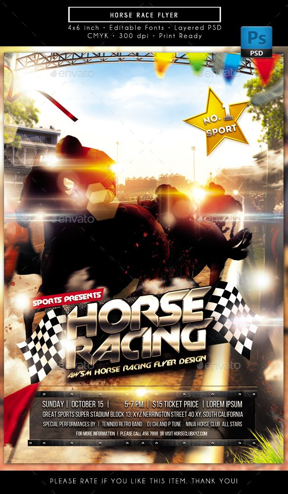 horse race flyer flyer templates pinterest flyer template