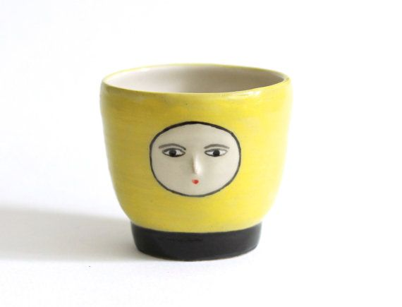 Yellow & Black Ceramic Tumbler with face - Handleless cup