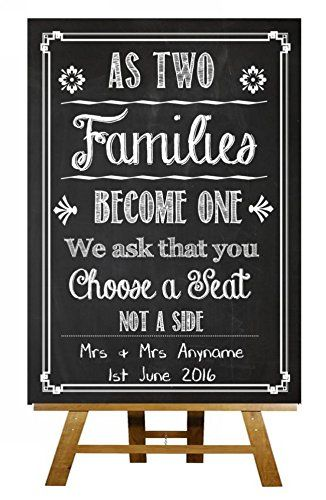 75584abf5975d1 A3 Chalkboard Choose A Seat Not Side Vintage Personalised Wedding Sign    Poster