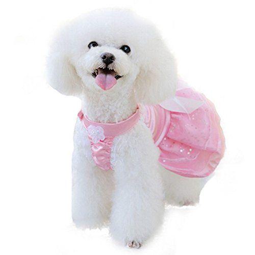 DZT1968(TM)Newest Pet Puppy Dog Girl Princess Formal Gown Clothes Suit Set Wedding Dress (Pink, M)