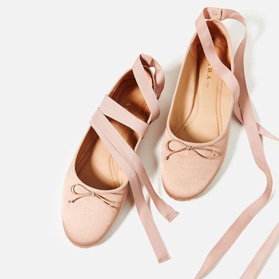 Image 5 De Ballerines En Satin De Zara Ballerinas Schuhe Schuhe Damen Schuhe Frauen