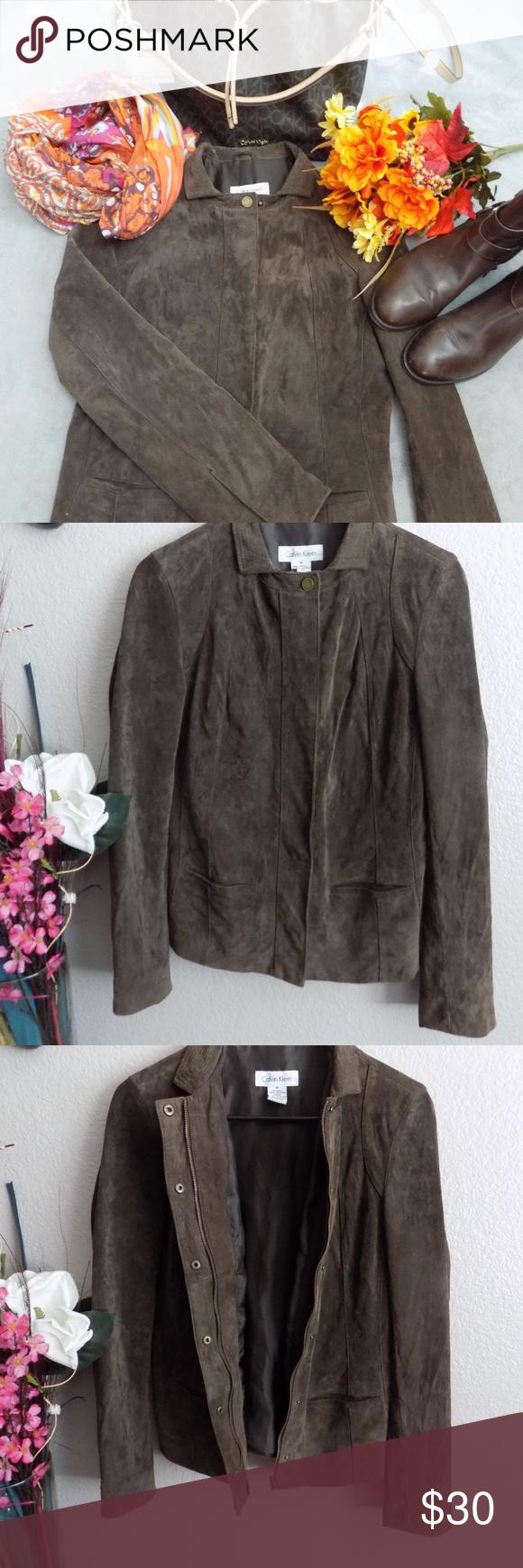 Calvin Klein Suede Leather Jacket Hardly used jacket. Very
