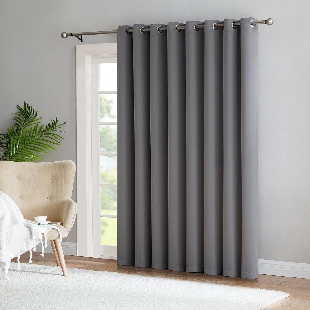 Warm Home Designs Extra Wide Blackout 102 Light Grey Patio Door