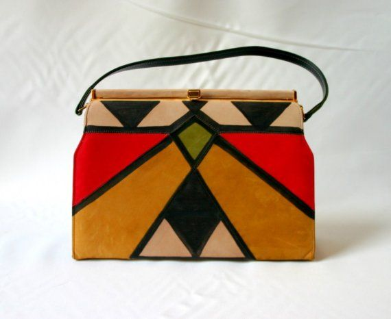 0d386169e58d absolutely incredible vintage suede purse! this is a rare find. never seen  one quite like it before. fabulous colors and fabulous geometric