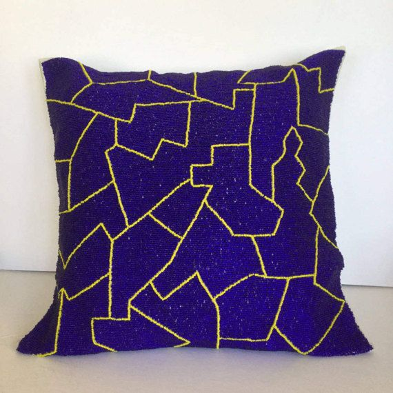 Royal and Yellow Luxury Contemporary with hand beaded abstract line embellishment Throw Pillow, Modern Toss Pillow, Accent pillow