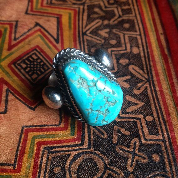 STRIKING Turquoise and Sterling Silver ring size by IndigoandAmber $85