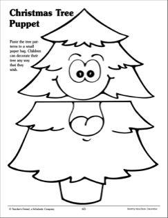 Christmas Tree Paper Bag Puppet Pattern Printables Paper Bag Puppets Christmas Kindergarten Puppet Patterns