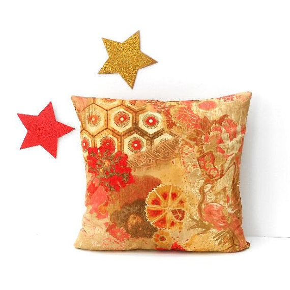 16x16 Floral Pillow Cover Gold Red Tan Peach Cream Couch