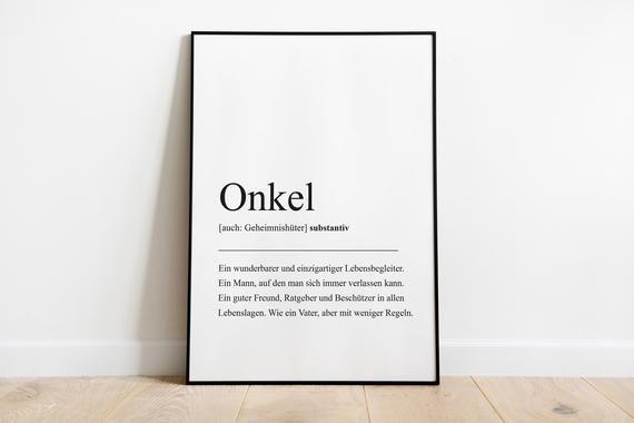 Onkel Definition, Geschenk für Onkel, Geburtstagsgeschenk Familie, Plakat Wörterbuch, Poster Skandinavisch, Überraschung Onkel