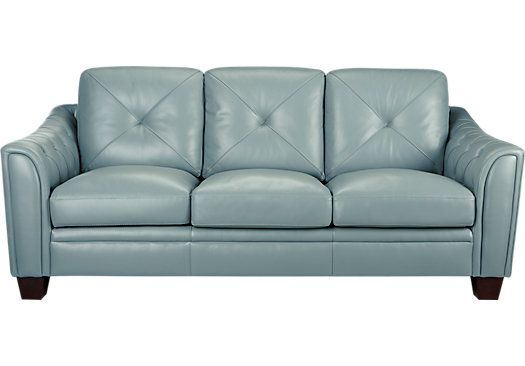 Picture Of Cindy Crawford Home Marcella Spa Blue Leather Sofa From Leather  Sofas Furniture