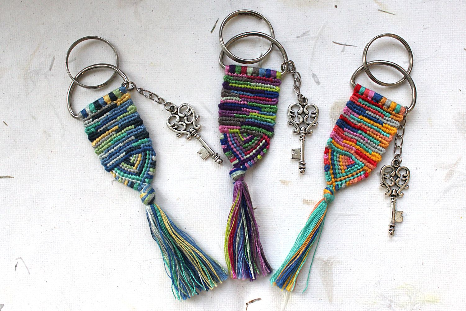 Handmade Macrame Keychain / Handwoven Keychain / Unique Hippie Tribal Boho Freestyle Keychain / Gift - pinned by pin4etsy.com