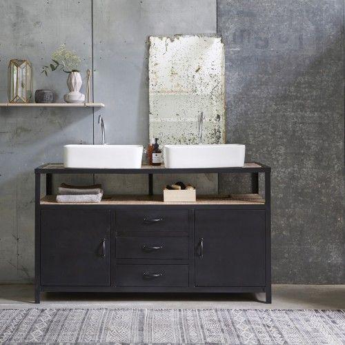 Meuble Salle de bain en métal et manguier 140 Industriel Vanities - salle de bain meuble noir