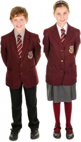 #Schooluniform: Girls  -    Maroon blazer    - School tie     White blouse   -  Trutex box-pleated dark grey skirt   -  Maroon socks or tights -  Boys    -  Maroon Blazer   -  School tie  -   Grey shirt -    Dark grey or black regulation school trousers
