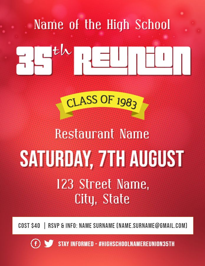 High School Reunion Printable Flyer Template Red School Reunion