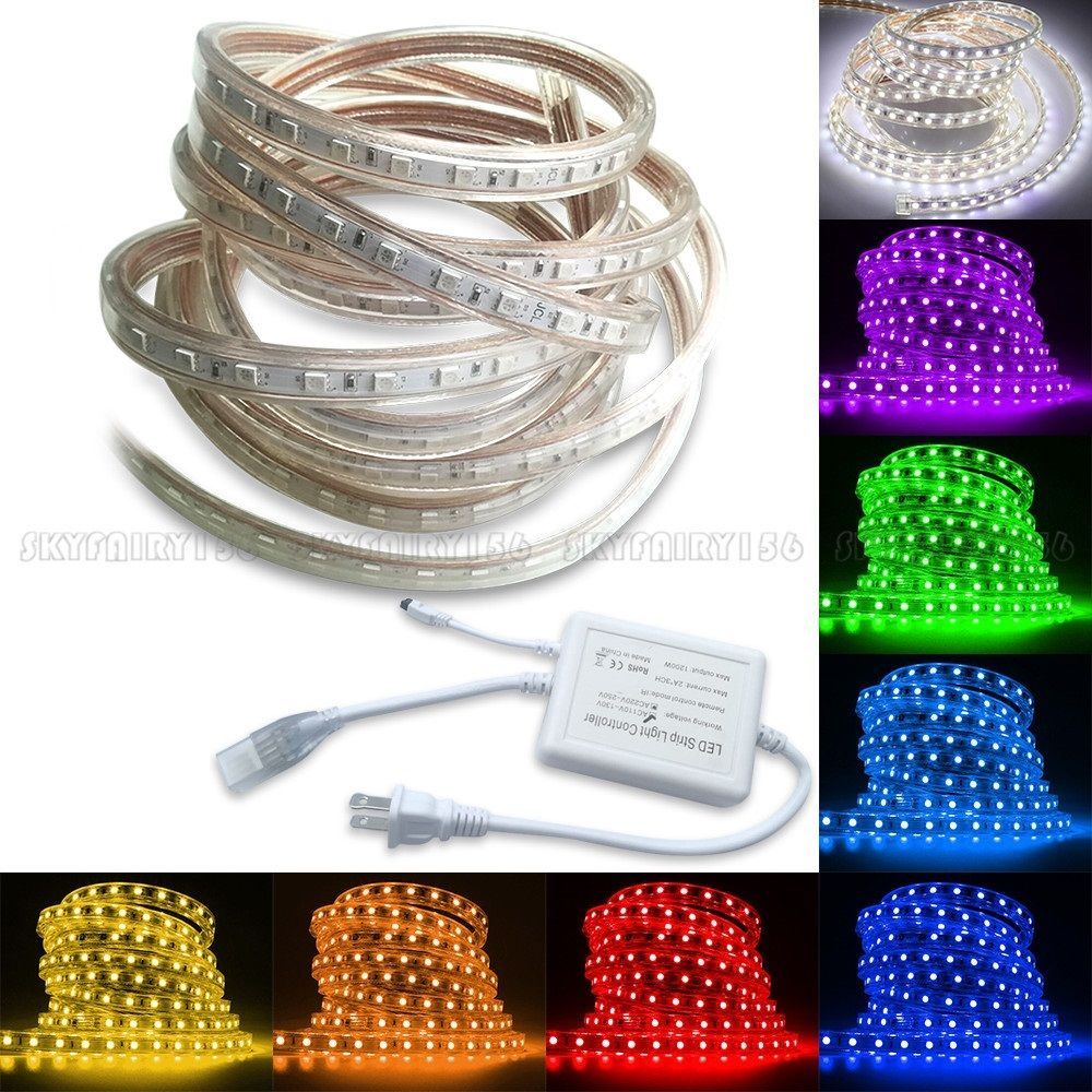 Details About 5m 30m 5050 Smd Led Strip Rope Tape Light Xmas Lamp Home Outdoor Waterproof 110v With Images Tape Lights Strip Lighting Led Rope Lights