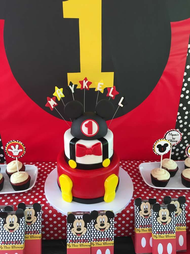 Cool cake at a Mickey Mouse birthday party! See more party ideas at CatchMyParty.com!