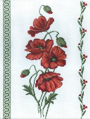 """C-0189 Poppies Counted Cross Stitch Kit 9"""" x 13"""""""