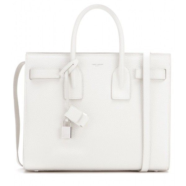 Saint Laurent Sac De Jour Small Leather Tote (7.220 BRL) ❤ liked on Polyvore featuring bags, handbags, tote bags, white, leather handbags, white leather purse, leather tote purse, tote handbags and handbags totes