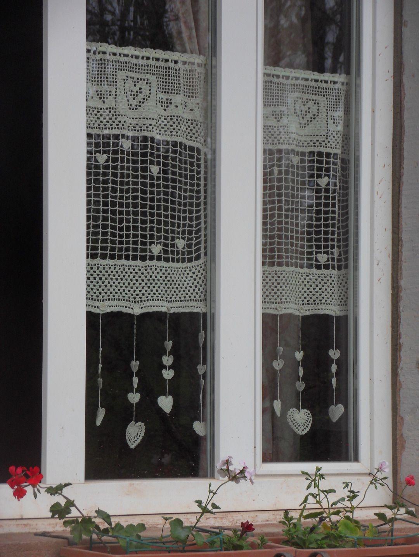 Création De Rideaux Originaux rideau crochet fait main constellation de coeurs en beige