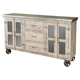 This Warmly Weathered 3 Drawer Sideboard Features A Galvanized
