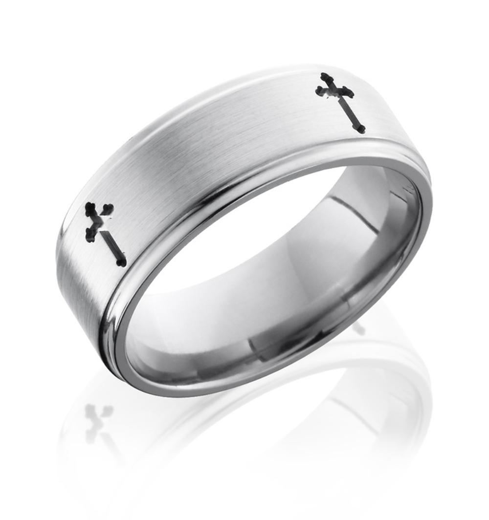 Mens Cross Ring Titanium 8mm Grooved Edges in 2020